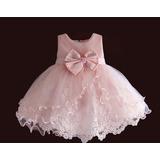 Vestido Bebê Menina Batizado Renda Rosa Festa Luxo