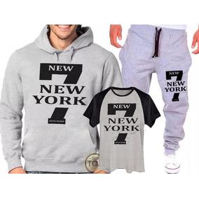 Kit Calça + Blusa Moletom+camisa 7 New York Academia Unissex
