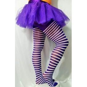 Pantimedia Rayada Halloween Adulto Unitalla Disfraz Caramelo