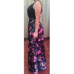 Vestido Largo Negro Con Flores M