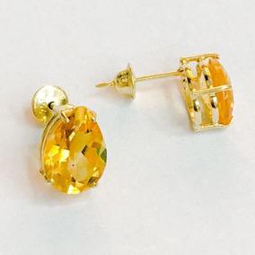 Brinco Ouro 18k Ponto De Luz Pedra Natural Citrino Gota