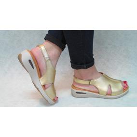 Sandalia Confort Mujer Moda 100% Cuero Calidad Cómodas Oro