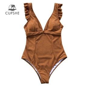 Maiô Biquini Body Caramelo Decote Bojo Tam P Cupshe®- Oferta
