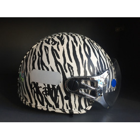 Capacete Feminino Kraft Custom Aberto Couro - Zebra