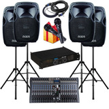 Combo Audio Potencia Consola 20 Canales Bafles 480w Pies Mic