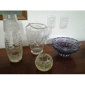 Florero,jarra,cenicero,centro Mesa,caramelera Cristal Lote