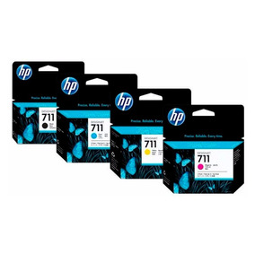 Pack Tintas Hp 711 Negra + Colores Para Plotters Hp