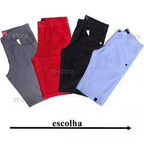 Kit 3 Bermuda Masculina Sarja Jeans Colorida Brim Oferta