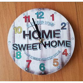 Reloj D Pared Vidrio Home Sweet Home Hogar Dulce Vintage