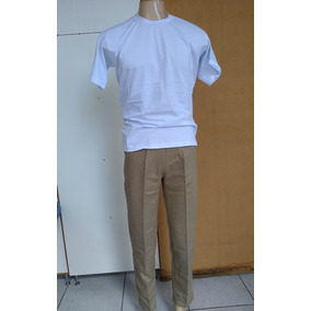 Uniforme Cdp 3 Conjuntos Calca Caqui E Camiseta Branca
