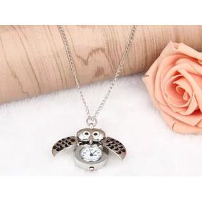14024d44071 Pingente Coruja Antique Colar Relógio De Bolso +bolsinha