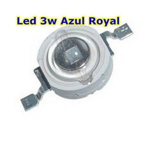 Kit 5 Unidades Power Led Chip 3w Azul Royal 440-455nm