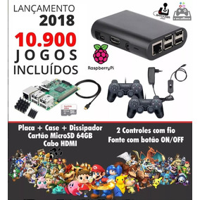 Kit Multijogos Raspberry Pi3 64gb 10939 Jogos 2 Cont Sem Fio