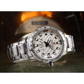 Relógio Masculino Luxo Naviforce Original 9090 Prateado