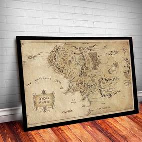 Quadro C/ Vidro Mapa Senhor Dos Anéis Terra Média 45x35cm