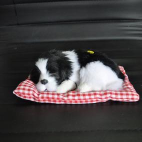 Filhote Pelúcia Cachorro Preto/branco 16cm C/almofada 18cm