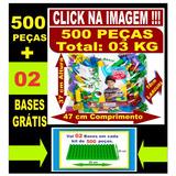 Blocos De Montar Educativo 500 Peças + 02 Bases De Montar