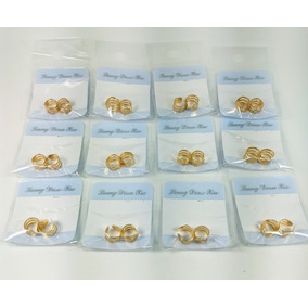 Brinco De Cartilagem Dourado Orelha 12 Pares Cartela
