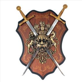 Brasao Medieval Espadas Leao E Cavalo Escudo Vintage 1223
