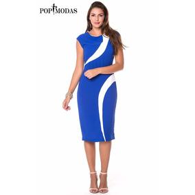 Vestido Azul Tubinho Soc. Moda Evangélica Exec. Comportado