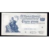 5 Pesos Moneda Nacional Progreso Bottero 1876a Error Ley Ex+