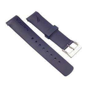 Pulseira Nautica 22mm Azul Escuro 22mm Silicone Similar