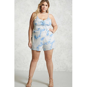 Forever 21 Plus Size Romper Short Blanco Azul Stretch 0xl 0272c87d6222