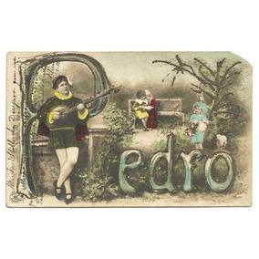 Postal Colorizado 1904 Art Noveau Purpurinado
