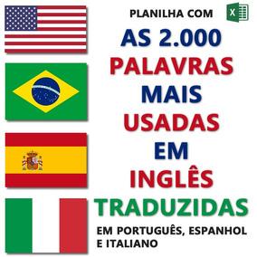 Planilha Com 2000 Palavras Mais Usadas Em Inglês, Traduzidas