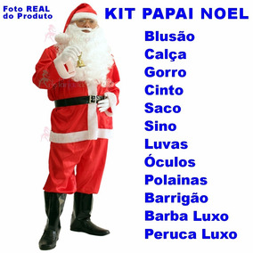 Roupa De Papai Noel Luxo Extra Grande Kit G8 - Frete Grátis