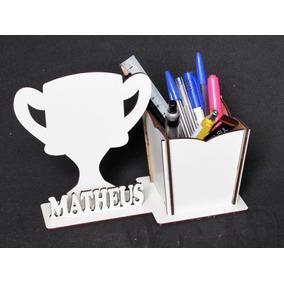 Lembrança Porta Lápis Personalizado Troféu Mdf Branco 25pç 98bd427057eae