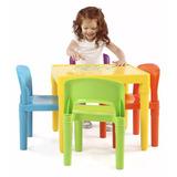 Mesa Mesita Con 4 Sillas Juego Niños Comedor Jugar Colores