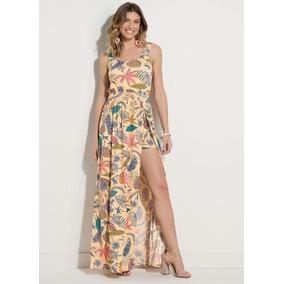 Vestido Plus Size Floral Com Fenda E Short Frete Grátis