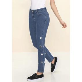 100% Algodon Luce Hermosa Dama Jeans Recto Ojillos 1387711