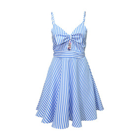 Vestido Tirantes Estampado Rayas Dama Mujer Azul 2807 Zoara