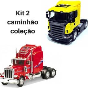 Kit 2 Caminhão Carreta Coleção Peterbilt + Scania Welly 1/32