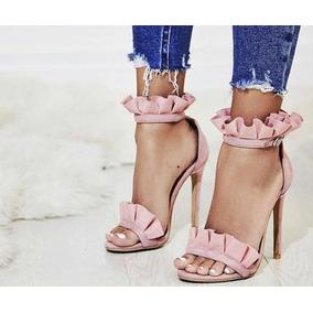 Sandália Clássica Babado Moda 2019, Salto 11cm- Várias Cores