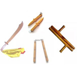 Kit 4 Armas Kung-fu Wushu Facão Tonfa Nunchaku Punhal
