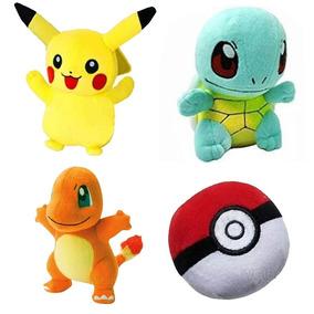 Kit 4 Pelucia Pokemon Pikachu Charmander Squirtle Pokebola
