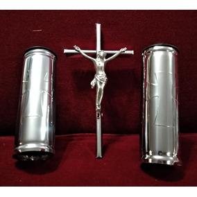 Cruz Con Cristo + 2 Floreros Tubo Accesorios Cementerio