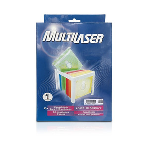Porta Cd Dvd Até 120 Pçs Colorido Caarq060cl Multilaser