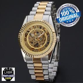 1ba412cd559 Relógio Winner Gold Luxo Clássico Social Automático. 1 vendido - São Paulo  · Relogio Masculino Dourado Esqueleto Automatico R03a Lxbr