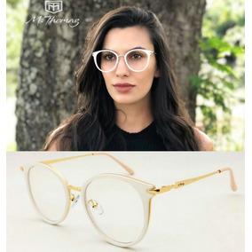 c52a006ea58d0 Oculos Com Hastes Douradas Grau - Óculos no Mercado Livre Brasil