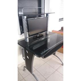 Mesa De Computacion Vidrio Ahumado Templado