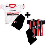 Kit 2x Conjuntos Infantil Futebol São Paulo Uniforme