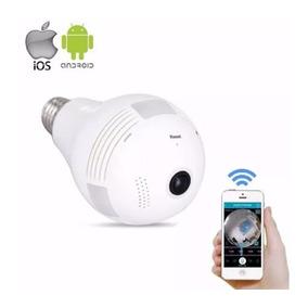 Lâmpada Bulbo Câmera Ip Led Wifi Hd Panorâmica 360º Celular