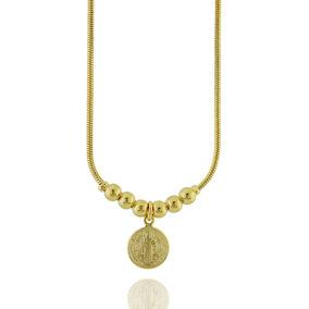Dourado Jóias Medalha De Ouro São Bento Esmaltada 4,1g - Joias e ... 8a46bef38d