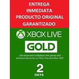 Xbox Live Gold Membresía 2 Días, 48 Horas Entrega Inmediata