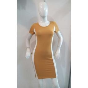 Vestido Amarillo Mostaza Con Franja Blanca A Los Costados