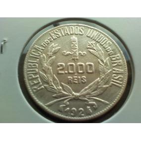 Moeda Brasil Prata 2000 Réis 1924 26mm 8gr